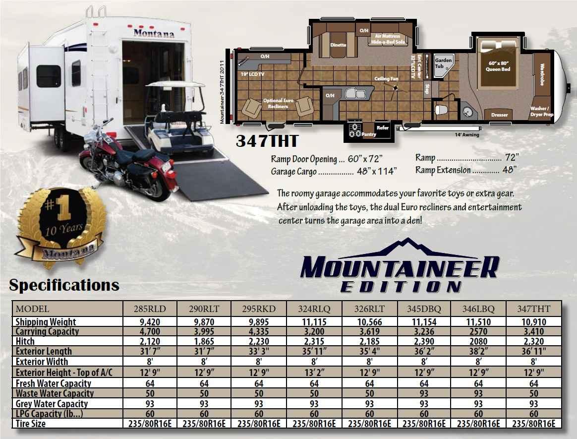 2011 Used Keystone Montana Mountaineer 347tht Toy Hauler