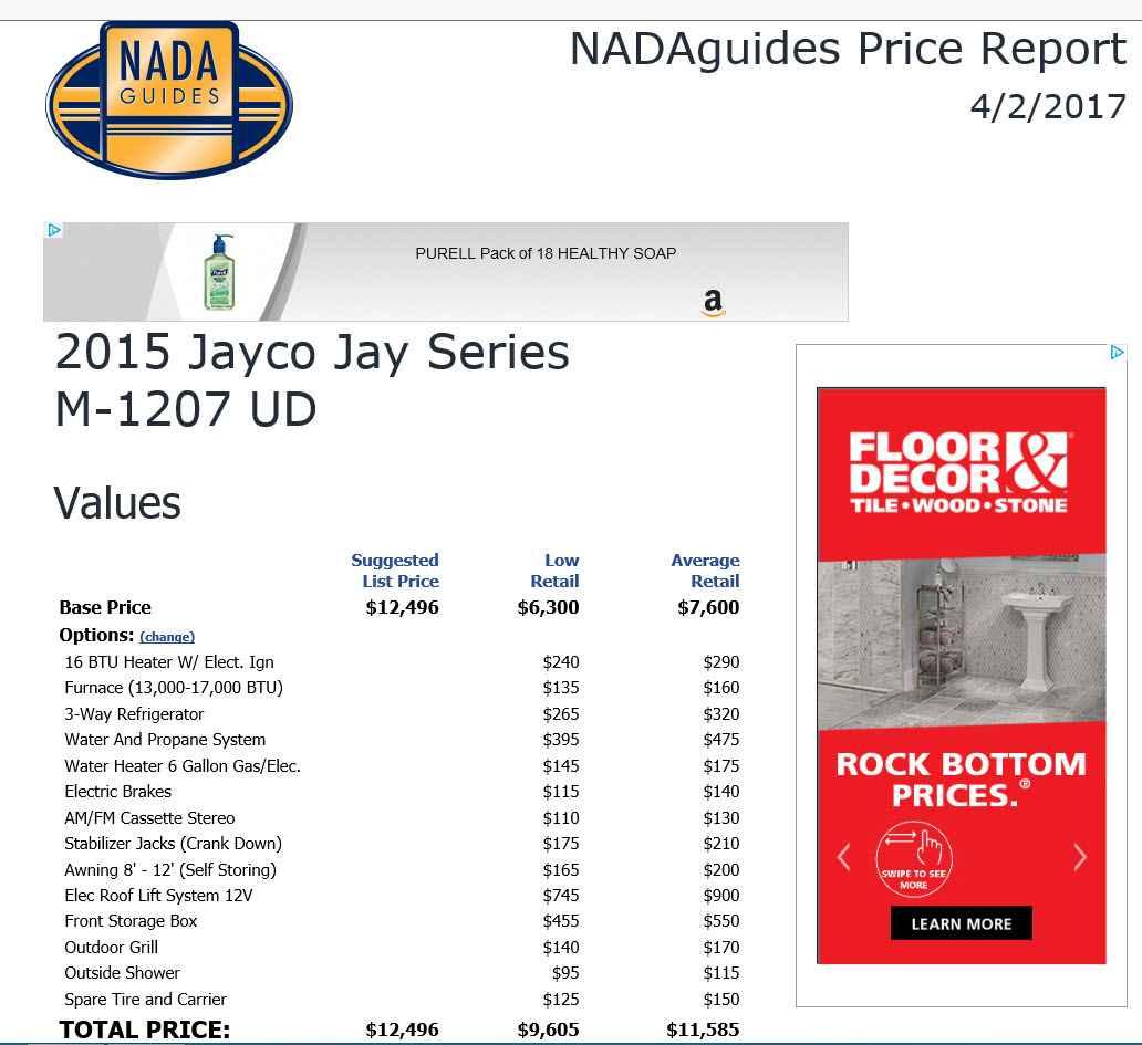 2015 Used Jayco JAY SERIES 1207UD Pop Up Camper in