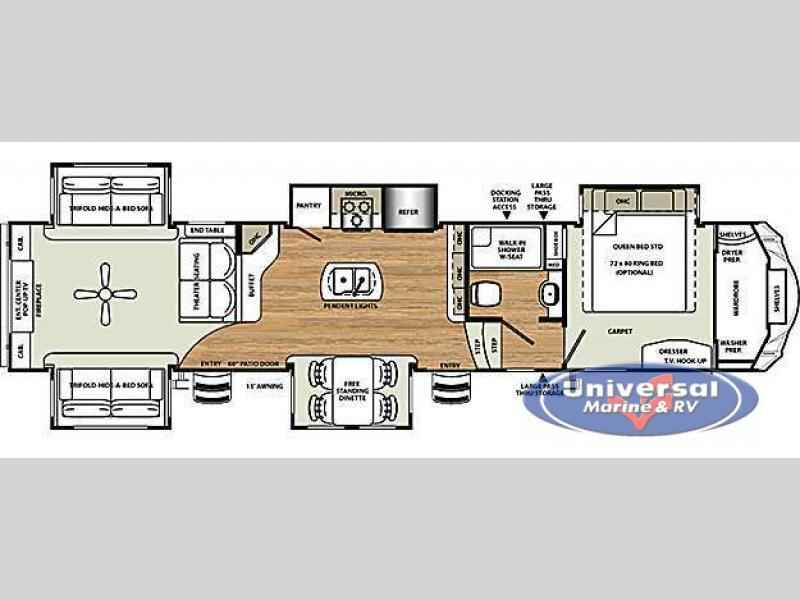 2017 new forest river rv sandpiper 389rd fifth wheel in Walnut Fireplace with Cabinets Cabinets and Fireplace Surrounds