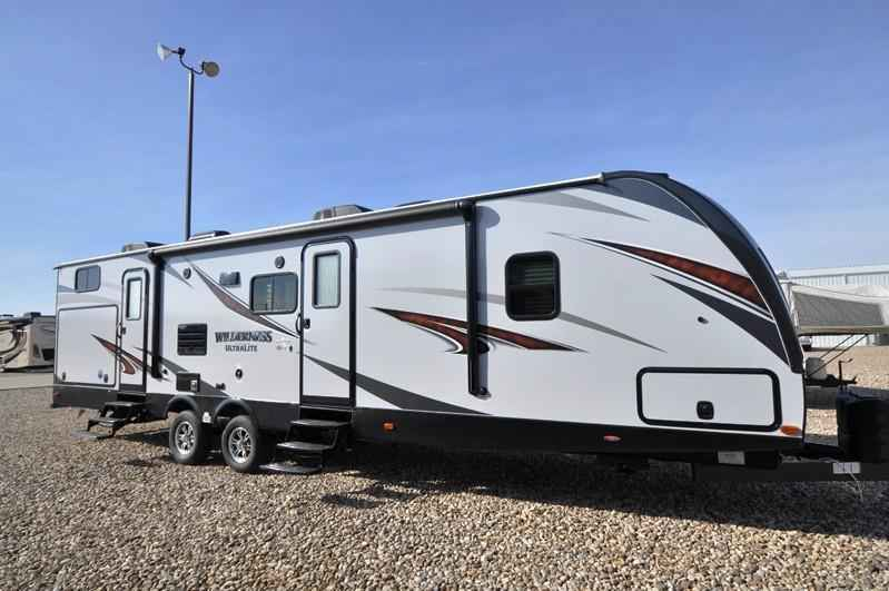 2017 new heartland rv wilderness 3350ds bath 1 2 rv for for 2 bathroom travel trailer
